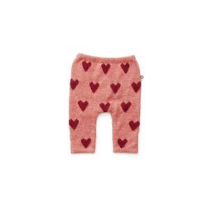 Pantalon en alpaga rose avec cœurs rouges 6m