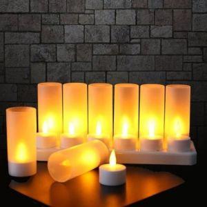 Lot de 12 Bougie LED Rechargeable Bougie Électrique LED Flamme Vacillante avec Station de Charge Décoration pour Noël Anniversaire