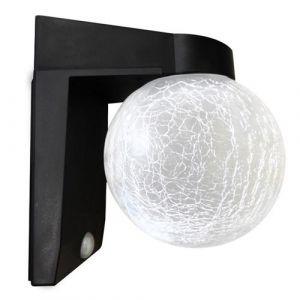 Applique murale solaire boule craquelée LED blanc chaud CRACK BALL WALL H21cm avec détecteur de mouvement