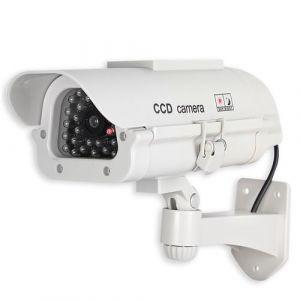 CCTV Caméra de Surveillance Factice d'Extérieur - Solaire avec LED