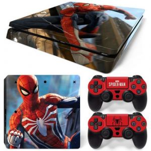 Autocollant Stickers Skin de Protection pour Console et Manette Sony Playstation PS4 Slim - Spiderman #2