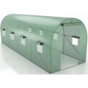Serre de Jardin Tunnel - bache armée - 12m2, 4x3m avec fenêtres latérales et porte zipée