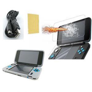 Pack 3 en 1 Nintendo New 2DS XL : Housse silicone blanc - Chargeur USB - Protection écran verre trempé - Straße Game ®