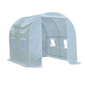 Serre de jardin tunnel surface sol 5 m² 2,5L x 2l x 2H m châssis tubulaire renforcé 18 mm 4 fenêtres blanc