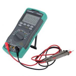 Fesjoy Multimètre numérique, courant continu, tension alternative, mètre, résistance, diode, testeur de capacité, mesure de la température, gamme automatique