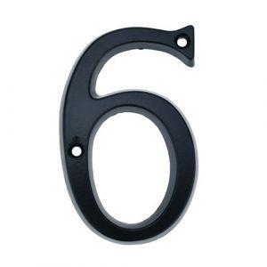 Nombre 6 à métal noir 95mm avec des vis pour signalisation
