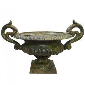 L'Héritier Du Temps - Vase vasque chambord jardinière de pilier pot de fleur en fonte vert anglais 29x31x44cm