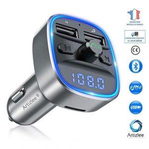 Transmetteur fm Bluetooth, Voiture Chargeur Lecteur MP3, ARTIZLEE Adaptateur Radio Sans Fil Kit Émetteur, Lumière ambiante