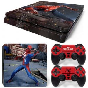 Autocollant Stickers Skin de Protection pour Console et Manette Sony Playstation PS4 Slim - Spiderman #3