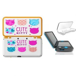 Coque NEW 2DS XL Kitty cute Chat cat kawaii coeur etoile rose transparente