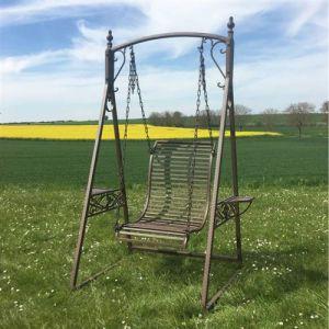 L'Héritier Du Temps - Balancelle 1 personne de charme balançoire pour adultes et enfants mobilier de jardin en fer 101x135x200cm