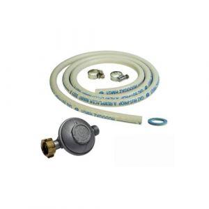 Kit connexion gaz complet pour réchauds gaz (tuyau souple 1.50m + embout tétine + détendeur BUTANE 28 mbars)