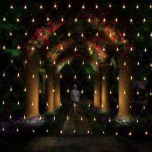 Filet lumineux à LED 3 x 2 m pour décoration de Noël, fêtes, intérieur, 8 programmes de changement de lumière (blanc)