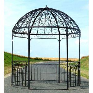 L'Héritier Du Temps - Grande tonnelle kiosque de jardin pergola abris rond gloriette en fer forgé marron 250x250x290cm