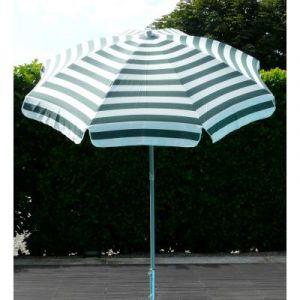 Parasol rond centré coloris Rayé Blanc/Vert - Dim : H 215 x D 200/8 cm-PEGANE-
