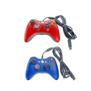 Generic Filaire USB Xbox 360 Manette de Jeu Lot DE 2 Rouge Bleu Contrôleur de Jeu compatible avec Xbox 360 / XBOX 360 slim / PC Windows 7 10
