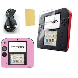 Pack 3 en 1 Nintendo 2DS : Housse silicone Rose - Chargeur USB - Protection écran - Straße Game ®