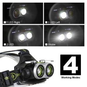 20000LM USB 2T6 LED Capteur infrarouge Projecteur pêche phares 18650