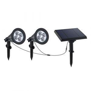 Double spot solaire relié avec panneau solaire déporté 2 en 1 à piquer ou à fixer éclairage puissant LED blanc dimmable FAMILY SPIKY H34cm