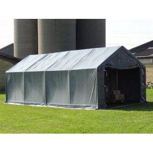 Tente de Stockage Tente Abri PRO 4x6x2x3,1m, PVC, Gris