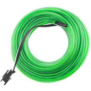 Fil électroluminescent vert Batterie forte 5m bobine de 2.3mm