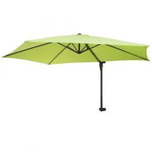 Parasol mural Casoria, parasol déporté pour le balcon, 3m, inclinable ~ vert limon