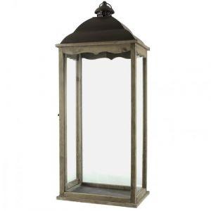 L'Héritier Du Temps - Grande lanterne bougeoir rectangulaire ou lampe tempête intérieur extérieur en fer et bois patiné marron 22x34x90cm