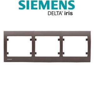 Siemens - plaque triple horizontale soft marron