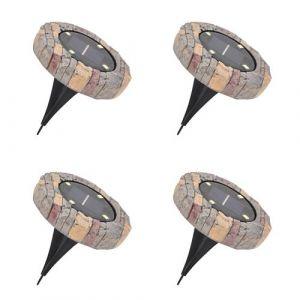 Lot de 4 Balises Solaires Extérieur - 4 LED - Bornes Ultra Plates - Effet Pierre