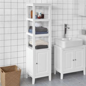 SoBuy® FRG205-W Meuble Colonne de Salle de Bain Armoire Toilette Haute ? Blanc