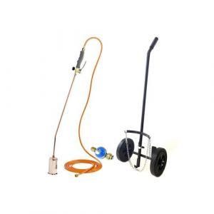 Desherbeur pro KEMPER tuyau 5 m bruleur 60 mm Allume gaz + détendeur propane inclus + chariot à roues pour bouteille gaz