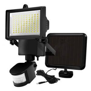 Projecteur solaire noir eclairage puissant panneau solaire déporté LED blanc COOPER BLACK H22cm avec détecteur de mouvement orientable