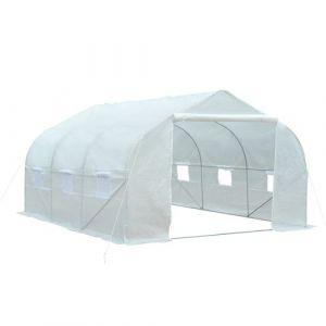 Serre tunnel de jardin 3,5 x 3 x 2 m grande taille 6 fenêtres blanc