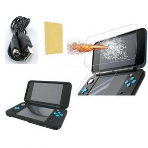 Pack 3 en 1 Nintendo New 2DS XL : Housse silicone Noir - Chargeur USB - Protection écran verre trempé - Straße Game ®