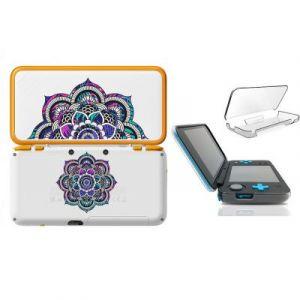 Coque NEW 2DS XL Mandala fleur fluo rose bleu transparente