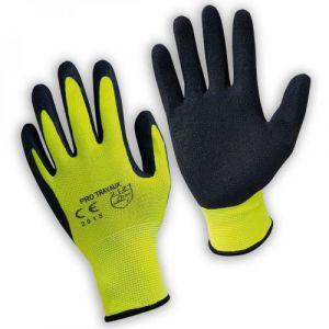 Paire de gants de protection pro travaux en polyamide et mousse de latex - Taille 10 - XL - Jaune
