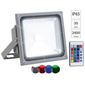 Projecteur d'extérieur 2400 lm / 30 W à LED RVB SMD et télécommande