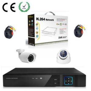 KIT Enregistreur vidéo HD de surveillance 4 canaux avec 1 caméra dôme et 1 extérieur - Sans disque dur