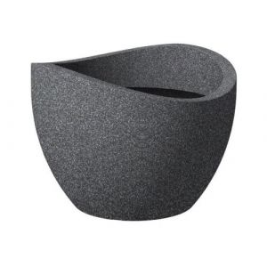 Scheurich pot en plastique rotomoule wave globe 250 - 50 x 37,1 cm - noir granite
