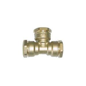 TE 90° égal en laiton - Pour raccordement polyéthylène - Diamètre 25 mm