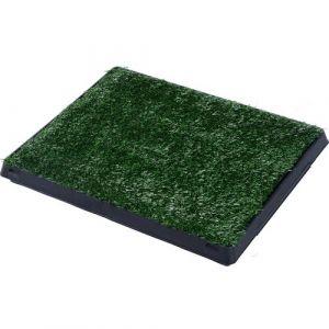 Litière gazon synthétique chiens toilettes portables à pelouse tiroir à déjection 63L x 51l x 6H cm noir vert