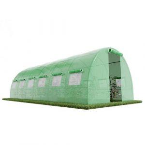 Serre de Jardin Tunnel - bache armée - 18m2, 6x3m avec fenêtres latérales et porte zipée