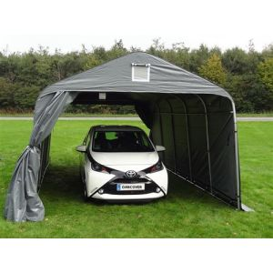 Tente Abri Voiture Garage PRO 3,6x4,8x2,68m, PE, Gris