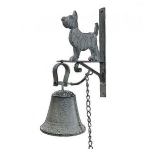 L'Héritier Du Temps - Cloche ou applique carillon murale motif chien en fonte patinée grise 10,5x21,5x28cm