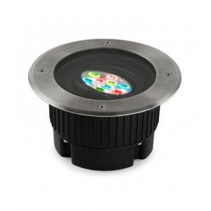 Spot à encastrer Gea 9 cm, RGB 11W, technopolymère, acier inoxydable et verre, 18 cm
