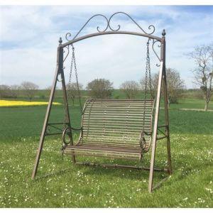 L'Héritier Du Temps - Grande balancelle de charme balançoire pour adultes et enfants 2-3 places mobilier de jardin en fer 108x165x240cm