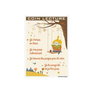 Panneau - Coin Lecture - Plastique Rigide PVC 1,5 mm - Dimensions 210 x 300 mm - Double Face Autocollant Au Dos - Protection Anti-UV…