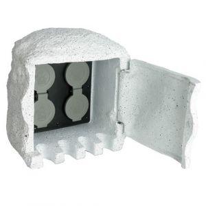 vidaXL Borne électrique de jardin imitation pierre avec télécommande