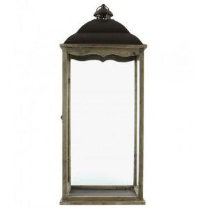 L'Héritier Du Temps - Lanterne bougeoir rectangulaire ou lampe tempête intérieur extérieur en fer et bois patiné marron 15x25x63cm