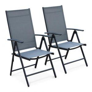 Lot de 2 fauteuils multi-positions Naevia en aluminium gris et textilène noir - Alice's Garden